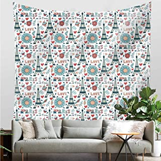YOLIYANA Eiffel Beautiful Tapestry,Retro Colored Cheerful Composition with Floral Figures Cupcakes and Je`Taime Print Decorative for Living Room,47