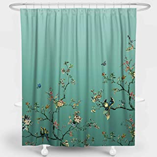 LIVETTY Artistic Shower Curtains Bathroom Gradient Teal Wildlife Floral Flower Classical Trees Birds Butterfly Bath Decor Polyester Water Proof 72x72 Inch Hooks Included