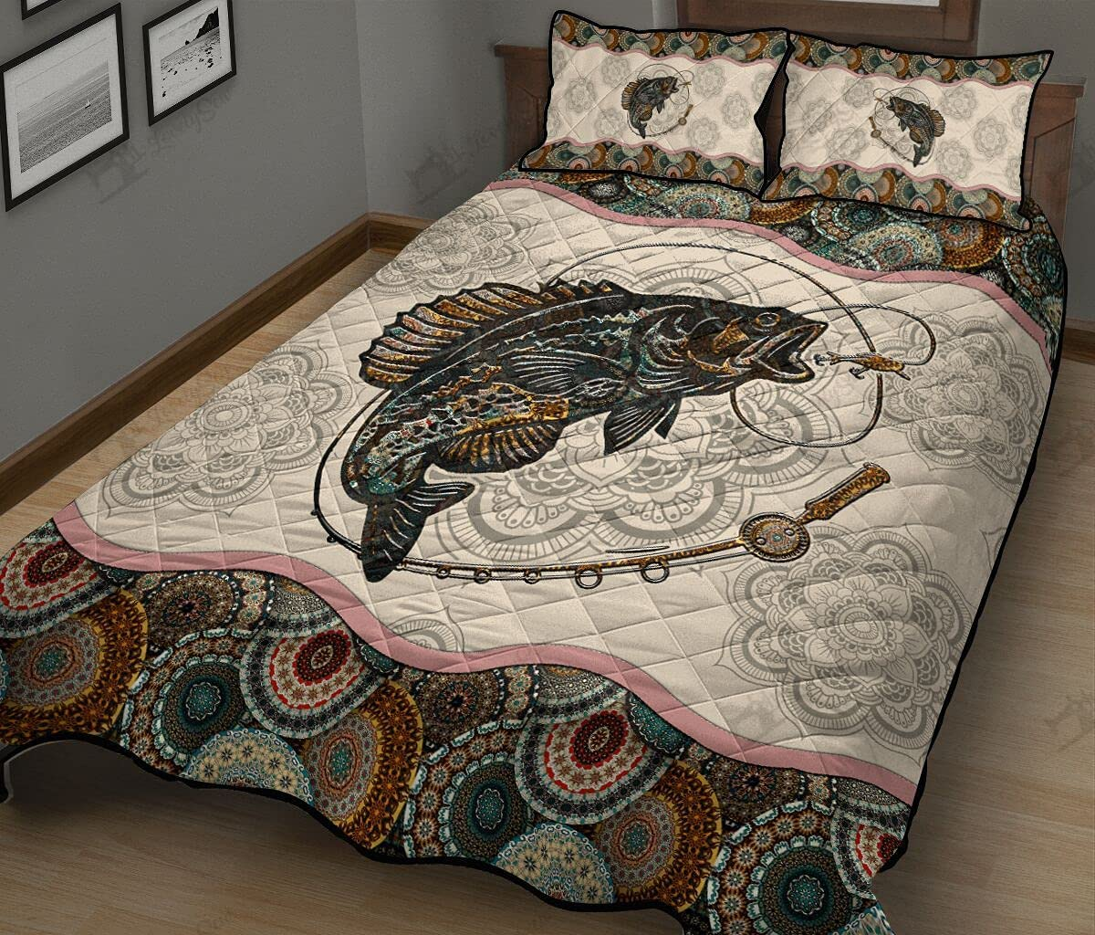 Crappie Mandala Bedding New York Mall Set 3 unisex Pillowcase with Pieces Cover Quilt