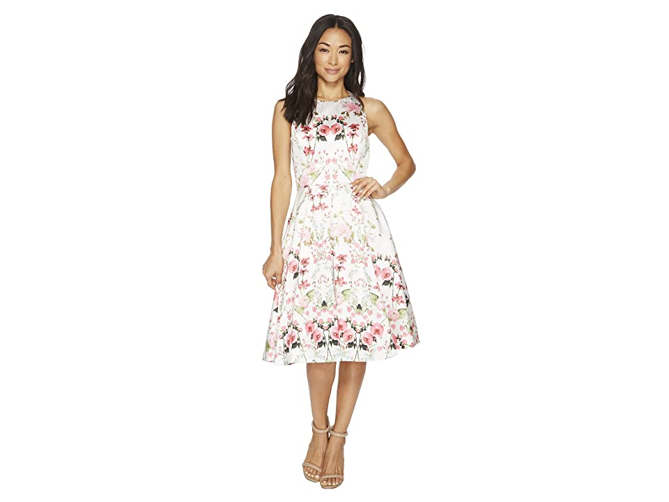 Tahari by ASL Floral Fit-and-Flare Dress (Ivory/Fuchsia/Green) Women