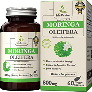 Moringa Oleifera Capsules - Natural Appetite Suppressant for Weight Loss, Energy, Superfood for Mental Clarity, Decreased Stress and Immune Vitality, 60 Veggie Caps Made in USA