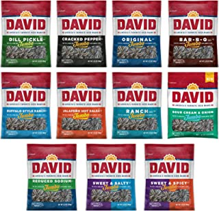 Peaceful Squirrel Variety, DAVID Sunflower Seeds jumbo Variety of 11 Flavors - 5.25 Ounce