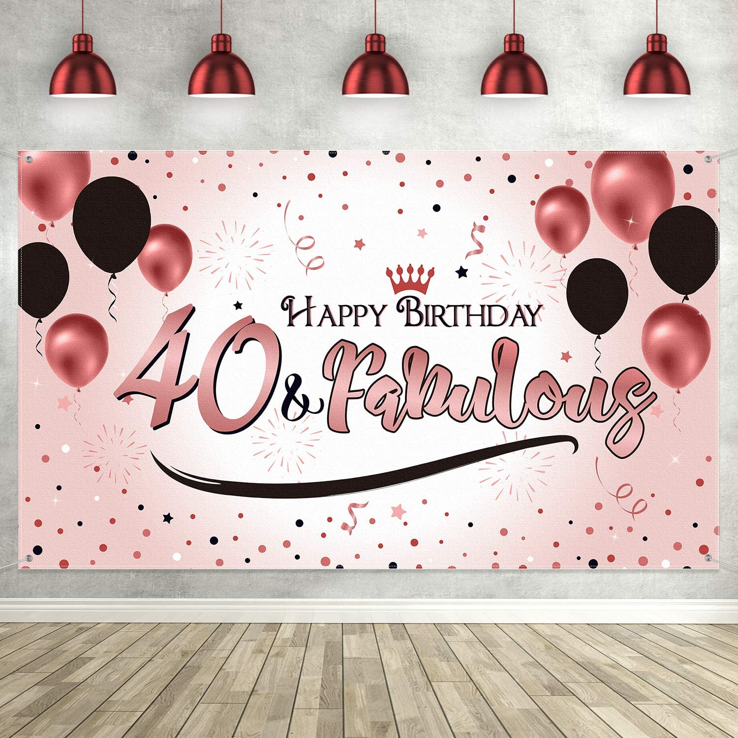 40th Happy Birthday Party Decoration, Rose Gold Women 40th Banne
