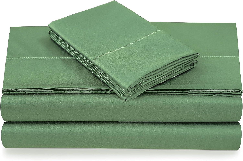 Tribeca Living SAT500SSKIMEGR 500 Thread Count Sateen Deep Pocket Sheet Set King Meadow Green