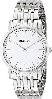 Bulova 96A115 Reloj de pulsera para hombre, esfera blanca plateada