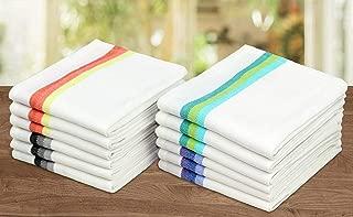 COTTON CRAFT – 12 Pack – Twill Stripe Kitchen Towel – Multi- 100%..
