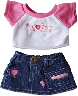 """Love T-Shirt & Jean Skirt Clothing Fits 8""""-10"""" Most Webkinz, Shining Star and 8""""-10"""" Make Your Own Stuffed Animals and"""