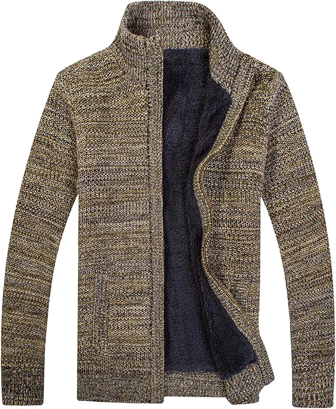 HaoMay Men's Winter Fleece Lined Full Zip Knitted Cardigan Sweater Jacket