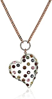 Mixed Multi-Colored Stone Lucite Heart Long Pendant Necklace