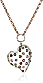 "Betsey Johnson""Confetti"" Mixed Multi-Colored Stone Lucite Heart Long Pendant Necklace"