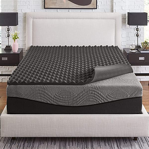 Slumber Solutions Active 2 Inch Big Bump Charcoal Memory Foam Topper Queen