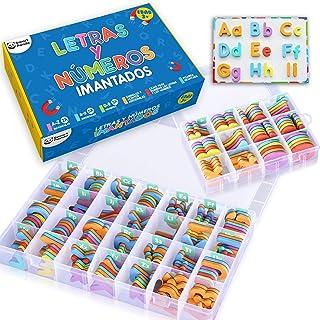Letras y Números Magnéticos para Niños - Conjunto Completo: 182 Letras y 81 Números y Símbolos - Imanes Gruesos de Espuma para la Nevera - Incluye 2 Cajas, Pizarra Magnética, Rotuladores y Borrador