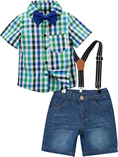 ZOEREA Toddlers Baby Boys Kids Formal Outfit Suit Set, Plaids Shirt + Suspender Pants + Bow Ties (0-7 Years)