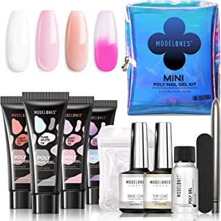 Modelones Poly Nail Gel Kit Mini French Enhancement Builder Color Changing Acrylic Extension for Travel - Including 4 Colo...