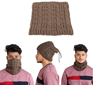 EASY4BUY® Cold Weather Winter Fleece Knitted Neck Warmer Face Mask Bandana Headband(Brown)