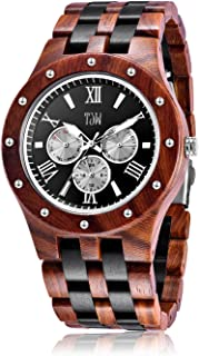 TJW Mens Natural Wooden Watches Day Date Analog Quartz Handmade Casual Wrist Watch 8010 Gift
