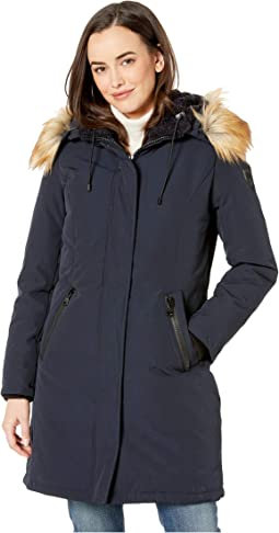 Long Heavy Weight Down Coat with Sherpa Hood and Faux Fur Trim R1661