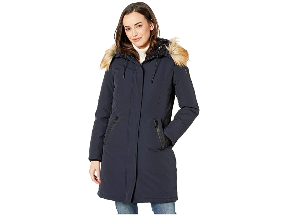 Vince Camuto Long Heavy Weight Down Coat with Sherpa Hood and Faux Fur Trim R1661 (Navy) Women's Coat