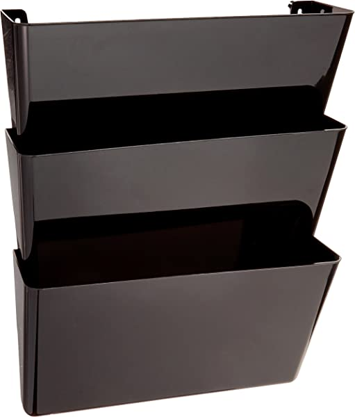 Delecto 93604 可持续办公室 DocuPocket 可回收内容墙文件组织者可堆叠的字母大小黑色一套 3 13 W X 7 H X 4 D