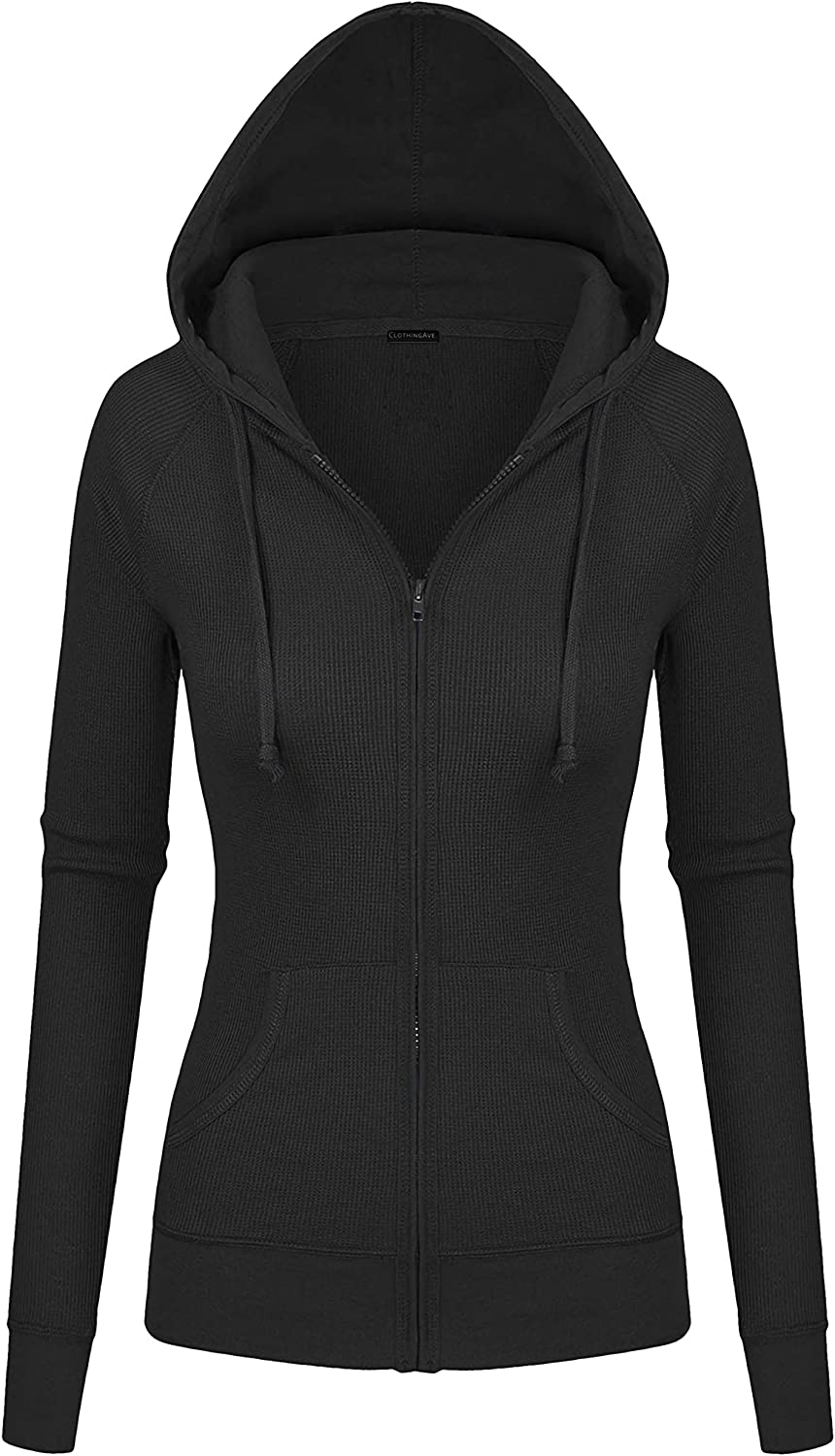 ClothingAve. Women's Active Thermal Zip Up Lightweight Hoodie Casual Warmup Jacket with Kangaroo Side Pockets