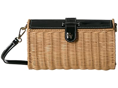 Frances Valentine Betsy Wicker Crossbody (Black) Handbags