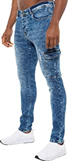Enzo Mens Skinny Jeans Cargo Distressed Denim Stretch Fit Side Pocket Trousers Ripped Pants Waist Sizes 30-38