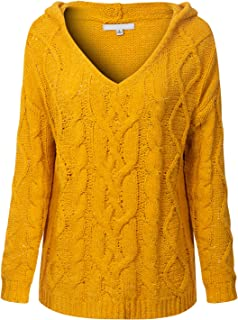 MixMatchy Women's Long Sleeve Stretch for Comfort Popcorn Knitted Hoodie Sweater Top