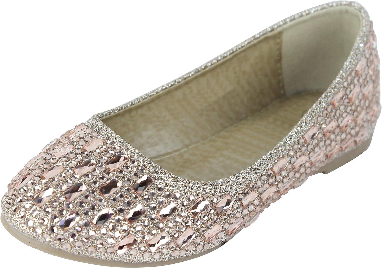 Cambridge Select Girls' Slip-On Closed Round Toe Rhinestone Crystal Ballet Flat (Toddler/Little Kid/Big Kid)