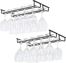 Wallniture Brix Large Stemware Wine Glass Hanger Rack Under Cabinet Kitchen Bar Storage Black Iron 17 Inch Set of 4