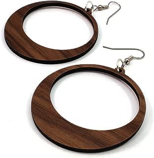 Simple Hoop Earrings made of Sustainable Walnut Wood - Large (2