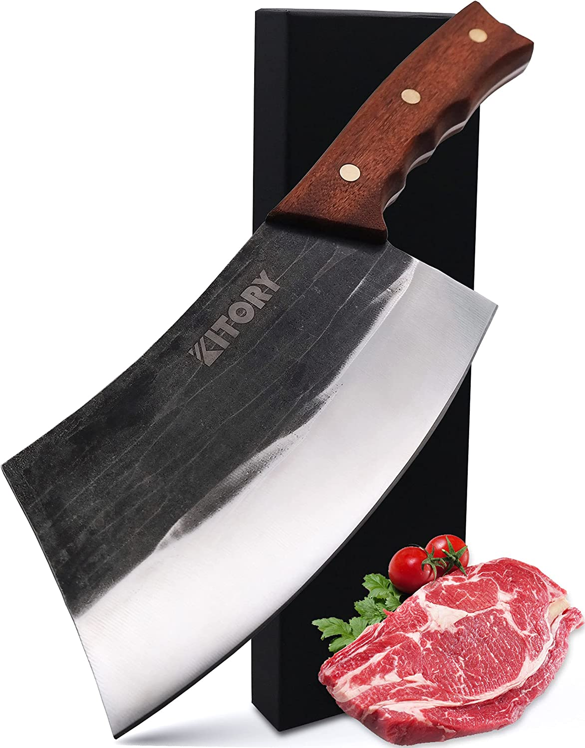 Kitory Cleaver Knife 7'' Forged Choppin Max 49% OFF Meat Vegetable Tampa Mall Sharp and