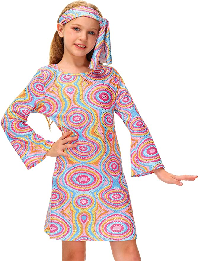 60s 70s Kids Costumes & Clothing Girls & Boys BesserBay Girls 70s Disco Diva Costume Bell Sleeve Dancing Dress with Headband 4-12 Years  AT vintagedancer.com