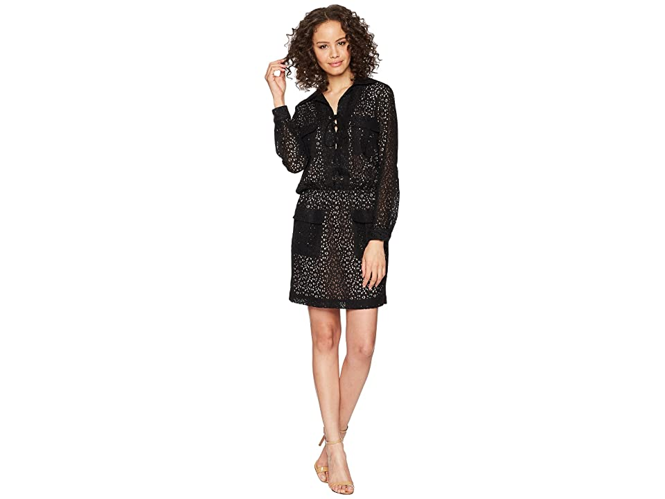 Nicole Miller Lace-Up Dress (Black) Women