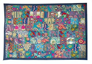 Rastogi Handicrafts Indian Handmade Embroidered Patchwork Old Hanging Wall Art Vintage Tapestry Old Sari Cutting Wall Hanging Parda (Blue, 40 X 60 INCH)