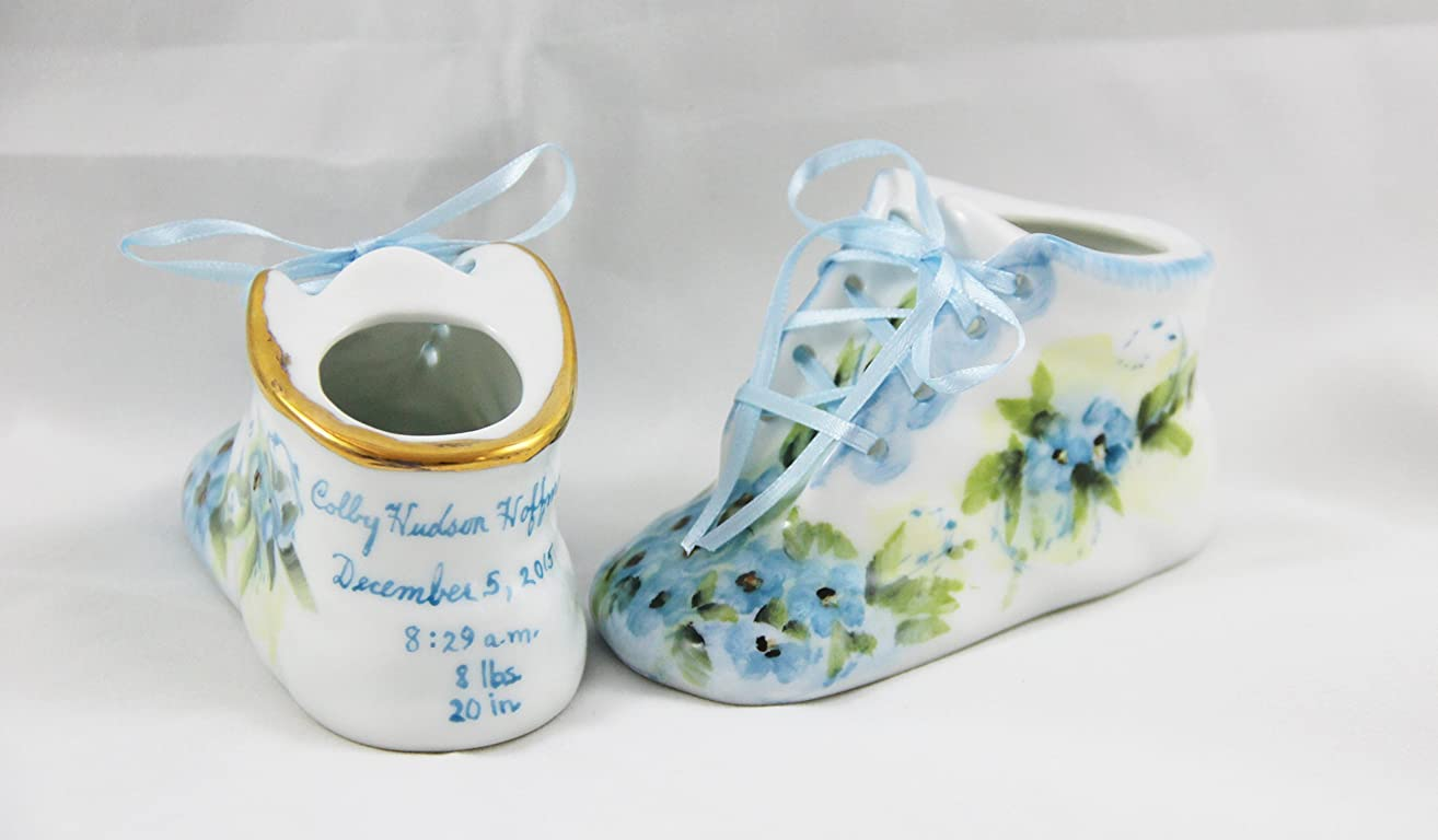 Porcelain Baby Shoe - Personalized Baby Boy or Girl Bootie - 100% Hand Painted Ceramic Baby Shoe Keepsake