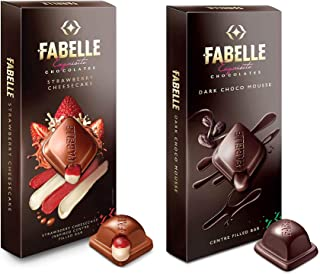 Fabelle Exquisite Chocolates - Strawberry Cheesecake and Dark Choco Mousse, Centre Filled Bars, 2 X 135 g