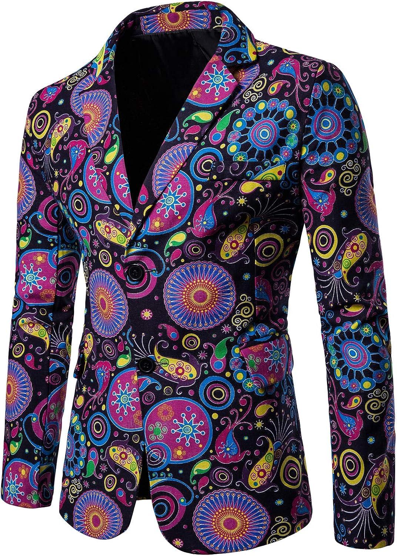 HENGAO Men's Casual Floral Printed Sport Coats Blazer Jacket