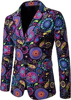 Men's Casual Floral Printed Sport Coats Blazer Jacket