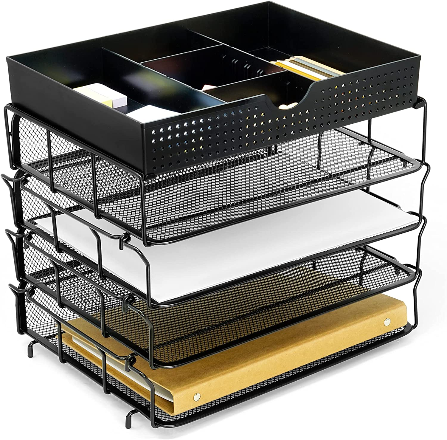 CAXXA 4 Max 57% OFF Trays Popular products Stackable Letter File Desk Organizer Deskto Tray