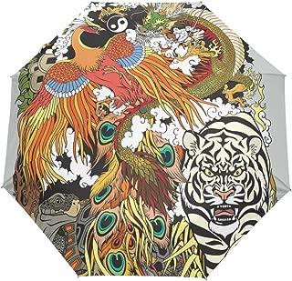 Naanle Celestial Animal Dragon Phoenix Turtle Tiger Auto Open Close Foldable Umbrella