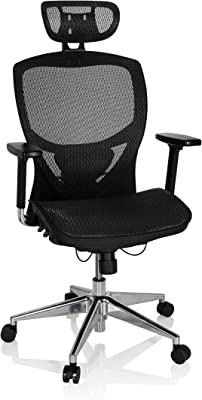 hjh OFFICE 657000 silla de oficina VENUS ONE tejido de malla negor silla ejecutiva ergonómica