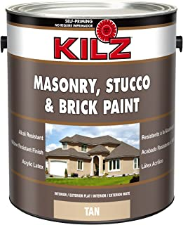 KILZ Interior/Exterior Self-Priming Masonry, Stucco and Brick Flat Paint, 1 gallon, Tan