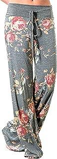 X-Image Women's Comfy Stretch Floral Print Drawstring Long Wide Leg Lounge Pants