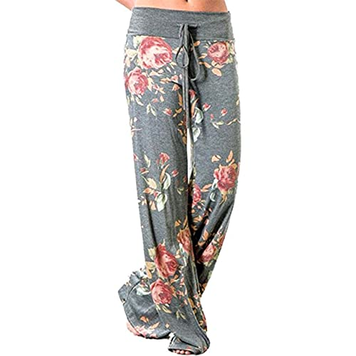5a0058cd99e Sexymee Women s Comfy Stretch Floral Print Drawstring Long Wide Leg Lounge  Pants