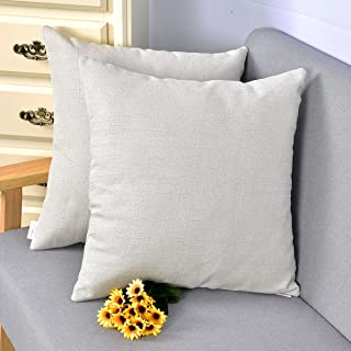NATUS WEAVER Outlet Decorative 18 X 18 Inch Linen Cloth Pillow Cover Cushion Case for Bench,Light Grey, 2 Pieces