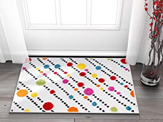 "Well Woven Small Rug Mat Doormat Modern Kids Room Kitchen Rug Dandy Dots and Stripes Ivory 1'8"" x 2'7"" Accent Area Rug Entry Way Bright Carpet Bathroom Soft Durable"