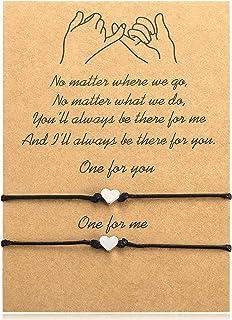 سوار قلب من الحبال مصنوع يدويًا على شكل قلب من Ralukiia، أساور محظوظة للنساء والفتيات والصديقات هدية متطابقة