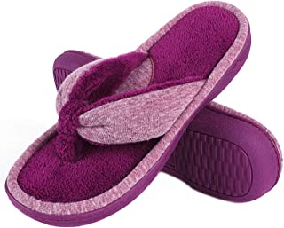 Memory Foam Thong Slippers, Adjustable Terry Flip Flop Slippers