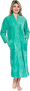 Bath & Robes Women's Chenille Robe Button Front 100% Cotton Bathrobe