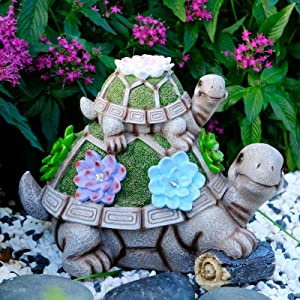 Turtle Solar Garden Statues Outdoor Decor, Eoanwu Mother and Child Turtle Resin Garden Figurines with 5 LED, Solar Garden Decor for Patio, Lawn, Yard Art Decoration and Housewarming Garden Gift